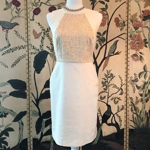 Ann Taylor Ivory Sheath Dress With Pockets